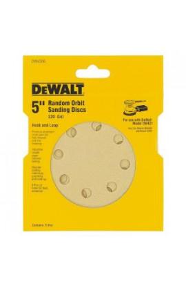 DEWALT 5 in. 8-Hole 220-Grit H and L Random Orbit Sandpaper (5-Pack) - DW4306