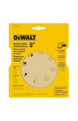 DEWALT 5 in. 8 Hole Assortment H and L Random Orbit Sandpaper (5-Pack) - DW4307